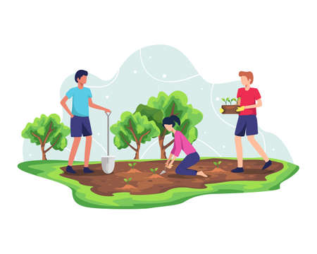 Forest reforestation concept. Planting trees and sustainable ecosystem, Environmental agriculture to save earth ecology. Nature care development for fresh and clean air. Vector in flat style Ilustração