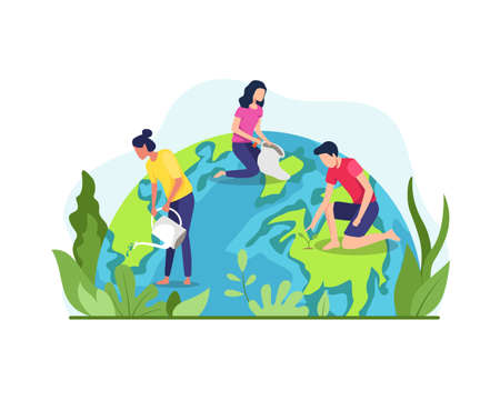 Vector illustration of Save the planet earth. The concept of the Earth day vector, Environmental protection. Group of people or ecologists taking care of Earth and saving planet. Vector in flat style Ilustración de vector
