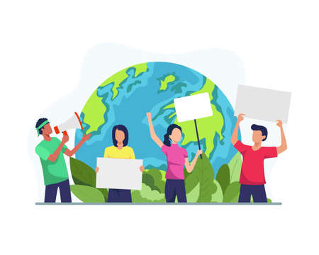Environmental activists illustration. Environmental activists draw attention to climate change, Staged demonstrations. Protesting eco-activists with posters on demonstration. Vector in flat style