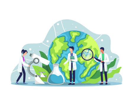 Ecologist taking care of Earth and nature. Scientist taking care of nature and study ecological environment. Ecological activist, Air, Soil and Water protection. Vector illustration in a flat style
