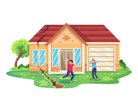 Earthquake disaster illustration. Running people escaping from breaking construction. Natural disaster or calamity, earthquake and destruction of house. Earthquake damage to house. Vector flat style