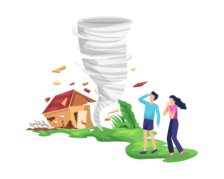 Destructive tornado illustration. Twisting tornado destroying house, The people were afraid and saved themselves. Hurricane storm in countryside is breaking trees and building. Vector in flat style
