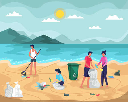 Beach cleaning vector illustration. People collecting trash into bags on beach. Young people cleaning plastic garbage on waterfront. Volunteers clean up trash on ocean coast. Vector in a flat style  イラスト・ベクター素材