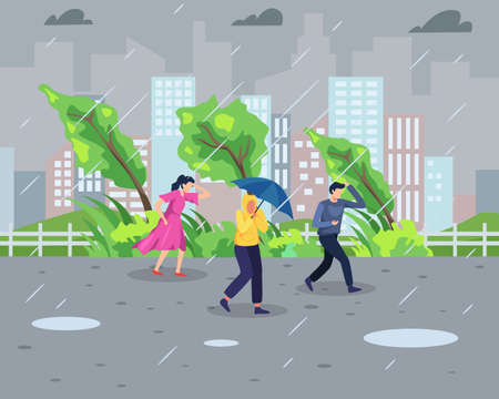 Vector illustration Rainstorm concept. People walk during rainstorm with cityscape background. Natural disaster and Extreme weather concept. Vector illustration in a flat style 向量圖像