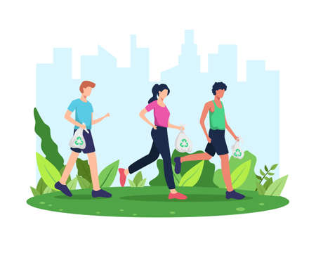 Vector illustration Plogging. Run and clean, Plogging movement or marathon. Man and woman picking up litter during plogging in park or outdoor. Collect garbage while running. Vector in flat style