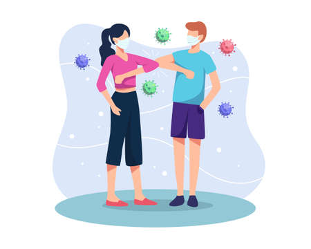 Elbow greeting concept illustration. People keep distance and avoid physical contact, Handshake or hand touch to protect from coronavirus spreading. New normal greeting gestures. Vector in flat style  イラスト・ベクター素材