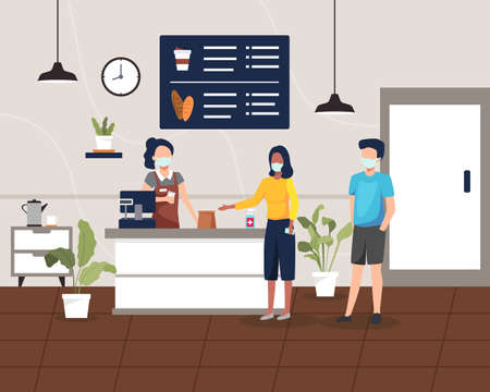 Coffee shop or cafe with health protocol. People maintain social distancing, Take away coffee shop concept. Coffee shop bar counter design, Customer buy coffee and dessert. Vector in a flat style