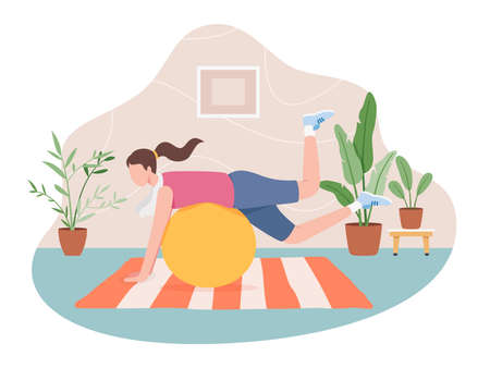 Girl doing sport indoor, Active healthy lifestyle vector. Sport exercise at home, Yoga and fitness, Home workout concept. Vector illustration in a flat style