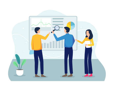 Analyze progress, Teamwork and startup concept. Analyze project and work progress, Concept of business work flow. Vector illustration in a flat style