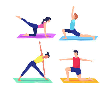 Man and woman training at home doing yoga exercises, Healthy lifestyle, Personal trainer workout class. Illustration concept of Yoga, Exercising, meditation. Vector flat style