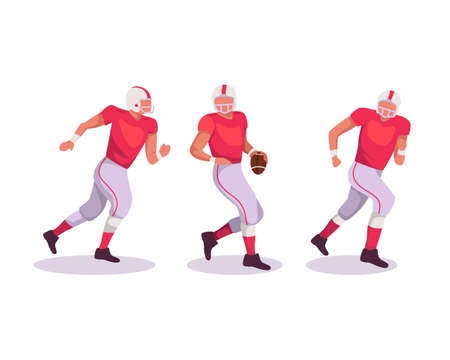 American football sportsman player with ball on isolated background. Football palyer with a red uniform on action. Vector illustration in a flat style