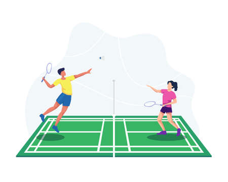 Badminton player jumping get ready to smash shot, Man and woman badminton player. People playing badminton with shuttle on court. Vector illustration in a flat style