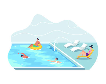 Summer vacation concept, Man and woman wearing swimsuits sunbathing. Young men and women having fun at outdoor swimming pool. Vector illustration in flat style