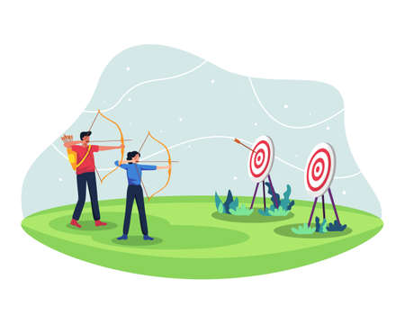 Male and female archery athletes compete, Practice archery together. Archers in the archery match for sport competition. Vector illustration in a flat style