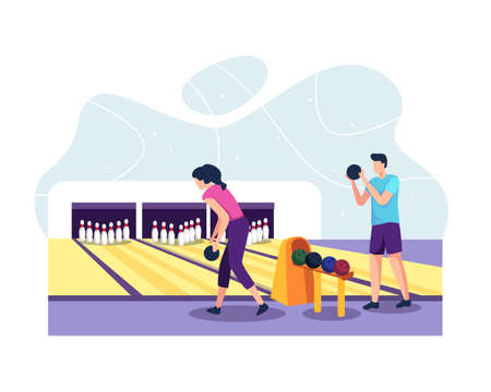 Men and women playing bowling in the club throwing balls. Couple playing in bowling alley. Bowling alleys with balls, pins and scoreboards. Vector in a flat style