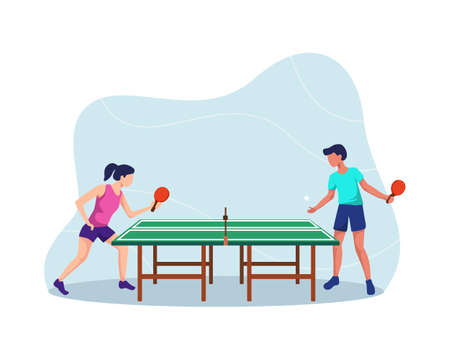 Table tennis players, Boy and girl playing tennis table,  Athletes vector illustration, Table tennis match. Vector in a flat style Vettoriali