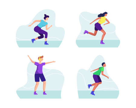 Group of roller-blades illustration, Playing roller skates outdoors. People on roller-blades, Urban activity vector. Vector illustration in a flat style