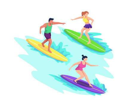 People in swimwear surfing in sea or ocean, Riding waves, Swim with surfboards. Summer sports and leisure outdoor activities at beach. Vector in a flat style