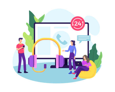 Customer service concept with big headset, monitor screen and small people. Online customer support, Telemarketing, Hotline operator 24 hours. Vector in a flat style Ilustração