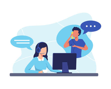 Female hotline operator advises client, Customer service, Customer and operator. Online global technical support 24 hours. Vector illustration in a flat style Иллюстрация