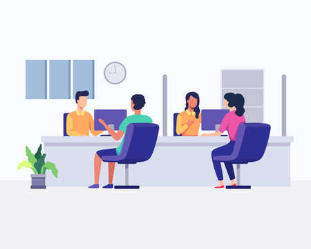 Hotline operators with headsets in office with clients. Customer support, Telemarketing agency, Consultation and assistance. Vector illustration in a flat style Иллюстрация