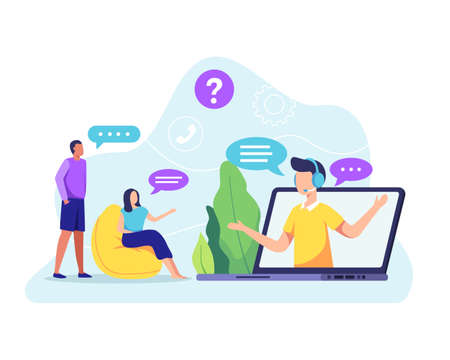 Young friendly operator agent with headset answer client. Male customer service agent talking with client. Online customer support, Helpdesk. Vector flat style Иллюстрация