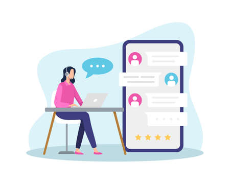 Female hotline operator answer customer with live chat, Chatting communication, Call center answer. Online global technical support. Vector in a flat style Иллюстрация