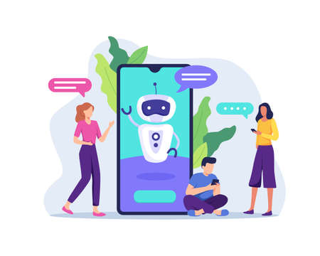 Ai technology with chat bot receiving client messages. Future marketing, Smart artificial intelligence bot online talking helping client. Vector in a flat style