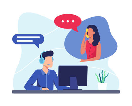 Male hotline operator advises client, Customer service, Customer and operator. Online global technical support 24 hours. Vector illustration in a flat style