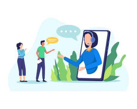 Young friendly operator agent with headset answer client. Female customer service agent talking with client. Online customer support, Helpdesk. Vector flat style Ilustração