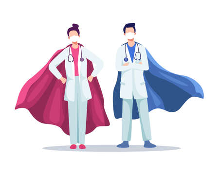 Male and female doctors wearing masks with superhero cloaks, Real heroes,  virus outbreak. Hospital medical staff with masks and stethoscope. Vector flat style Иллюстрация