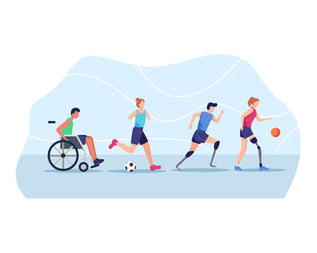 Sports athletes with disabilities, Disabled athletes sport competition. Disabled sport people in action, Wheelchair, Soccer, Running, Basketball. Vector in flat style Иллюстрация