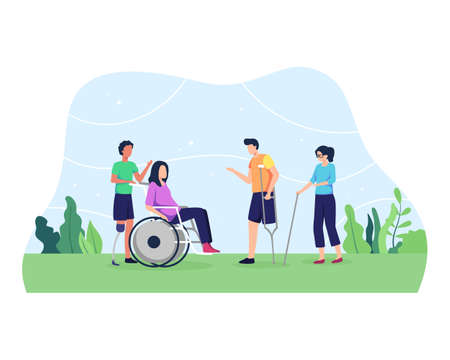World disability day, Group of men and women, Day of people with disability. Group of disabled people with special needs, on Wheelchair, with Prosthesis. Vector in flat style