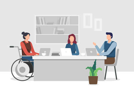 Young women with disabilities work in an office with a team, Meeting and Brainstorming project. Young woman in wheelchair working with colleague. Vector in a flat style