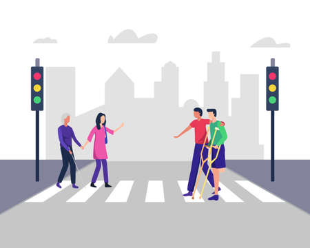 Illustration helps people with disabilities cross the road, Blind woman. Young men and women crossing street safely with disabilities people. Vector in a flat style