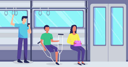 People with disabilities on public transportation, Young men go by train. People using public transport railway. Vector illustration in a flat style