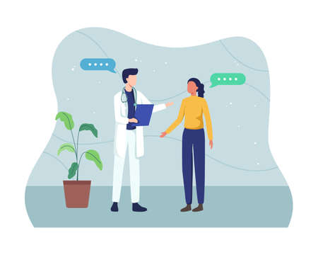 Male doctor holding application form while consulting patient, Doctor talking to female patient in the office. Medicine and health care concept. Vector in a flat style