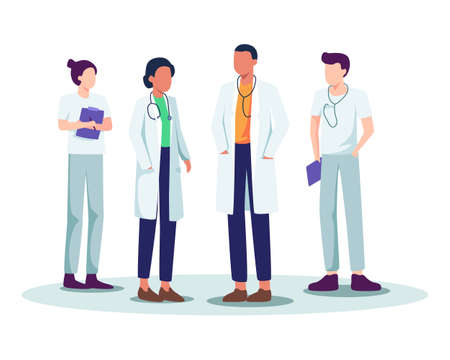 Hospital medical staff, Doctor and Nurse meeting, Doctor team with stethoscope. Doctor and medical personnel team, Healthcare people group. Vector in a flat style