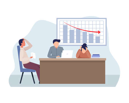 Finance decrease and crisis graph. Falling down business chart arrow, Economic budget collapse, Market risk. Business problem and economy drop. Vector in a flat style Ilustração