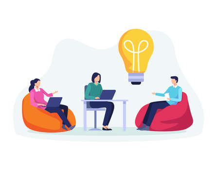 Businessman and woman with laptop searching for new ideas solutions, Working together in the company. Colleagues brainstorming, Discussion. Vector in a flat style Иллюстрация