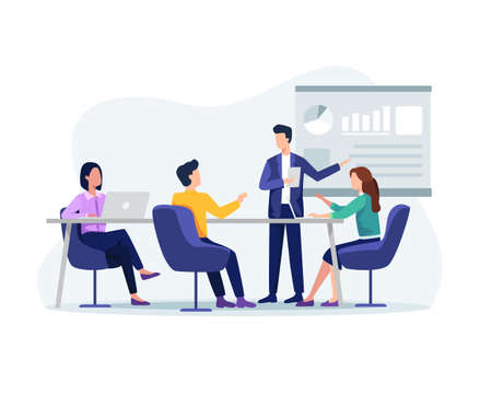 People on presentation conference, Businessman at project strategy. Business people working together, Presentation and discussion of the project. Vector in a flat style Ilustração