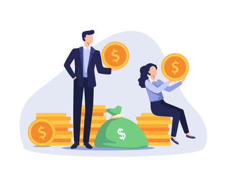 Successful businessman and businesswoman standing and sitting on coins stack. Profitable investment, Stock market income. Vector illustration in a flat style