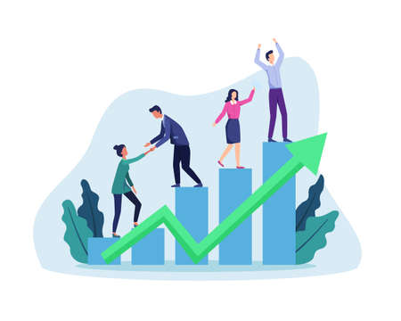 People walking up drawn stairs to success, Stepping on chart bar. Corporate growth plan, Business development to success and growing growth concept. Vector in flat style