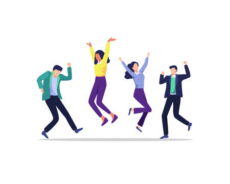 Happy positive men and women celebrating victory together. Young joyful people successful teamwork. Successful happy people in office wear. Vector illustration flat style