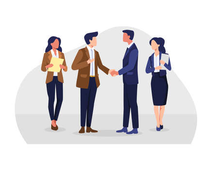 Business people hand shake after negotiation, Businessmen shake hands. Successful negotiations, Agreement, Relationship, Partners meeting. Vector in a flat style
