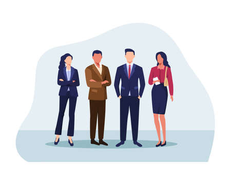 Successful group of business people at the office, Businessman, Businesswoman, Leader. Diverse men and women in outfits. Vector in a flat style