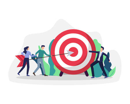 Business goals achievement. Business people carry huge arrow to huge target, Aim mission challenge task solution. People driving arrow to goal, Successful team hitting target. Vector in a flat style Иллюстрация