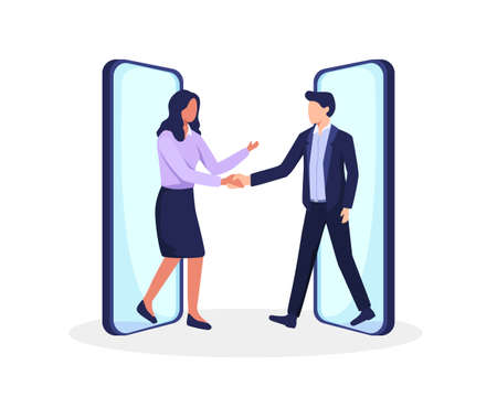 Businessman and businesswoman shaking hands after successful negotiations. Business people walking out smartphones screens, Distant meeting. Vector in flat style