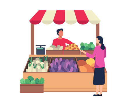 Vegetable and fruit seller, Local farmer sell their crops. Market stalls business concept, Local market farmer shops. Vector illustration in a flat style Ilustração