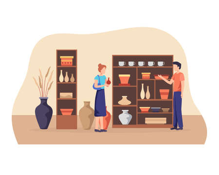 Ceramic shop owner talking to customer. Man sell handcrafted ceramic and pottery. Small business, Handmade ceramic store concept, Male shop owner. Vector flat style Иллюстрация